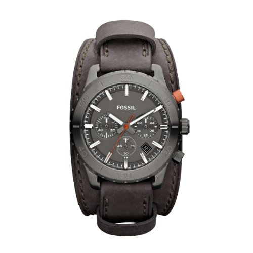Fossil Gents Keaton Grey Leather Strap Watch JR1418