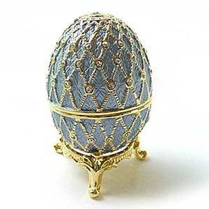 24k Gold-Plated, Blue / Lavender Enamel Swarovski Crystal Faberge-Style Egg Keepsake Box (3 inches x 2 inches) (Gift Boxed)