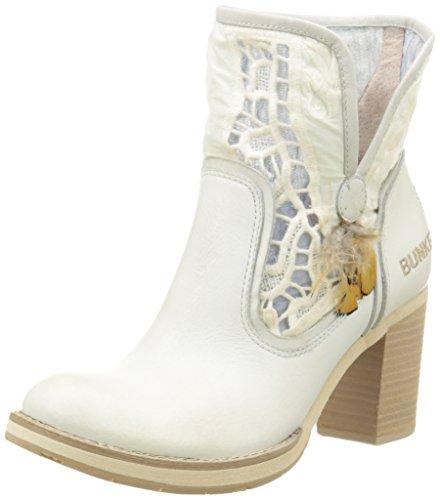BunkerRow Em9 - Stivali classici alla caviglia Donna , Bianco (Blanc (Ice)), 37 EU