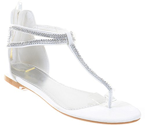 Jeweled Rhinestone T-Strap Bridal Party Flat Sandals Fourever Funky