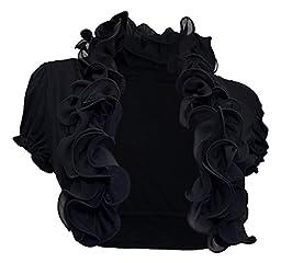 Plus size Cropped Ruffled Shawl Short Sleeve Shrug Bolero Black - 2X