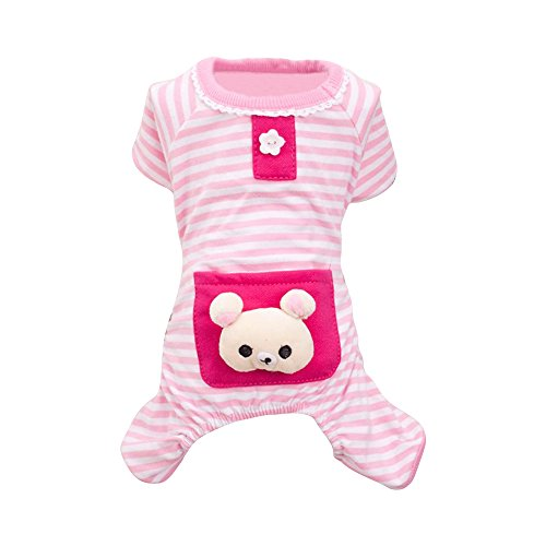 LOVELYIVA New Small Pet Dog Stripes Pajamas Jumpsuits Coat Clothes (x-small, Pink) (Teacup Clothes compare prices)