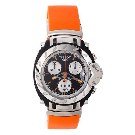 Tissot Men's T0114171705101 T-Race Chronograph Orange Rubber Strap Watch