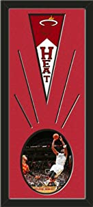 Miami Heat Wool Felt Mini Pennant & Dwyane Wade Photo - Framed With Team Color... by Art and More, Davenport, IA