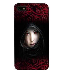 Fuson Red Eyes Girl Back Case Cover for BLACKBERRY Z10 - D3925