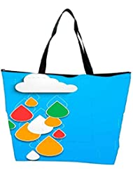Snoogg Bstract Rainy Season Background With Cloud And Colorful Water Drops Waterproof Bag Made Of High Strength...