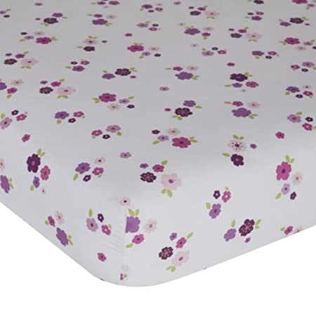 Plumberry Crib Sheet, Plum, Pink, White