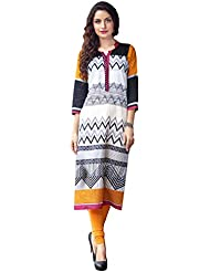 EthnicCrush Women's Cotton Printed Kurti(ECHTBinto1509,White & Black)