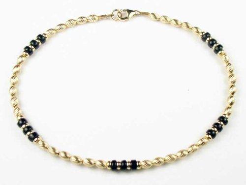 Damali TWISTED BLACK ONYX 14Kt Gold Filled Gemstone Anklets / Ankle Bracelets - MEDIUM 9.5 In.