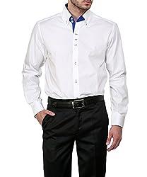 Dazzio Men's Slim Fit Cotton Casual Shirt (DZSH0122_Grey_38)