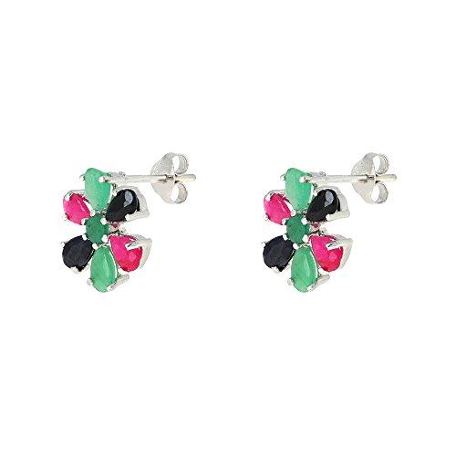 Bijoux Fait Main Argent : Bijoux de pierre gemme multicolore set boucles d oreilles