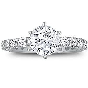 14K White Gold Diamond Eternity Engagement Ring ( 2 1/2ct G/H SI2 Size 4-9)