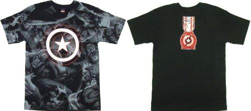 16062 キャプテン・アメリカTシャツ Captain America All Over 正規Tシャツ アメコミ マーベル