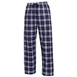 Boxercraft Flannel Pants Elastic Waist with Tie Cord and Pockets, (Large-Navy/Silver)