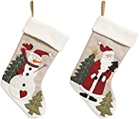 Christmas Stocking with Fleece Cuff and Felt Applique- 18.5 Inches