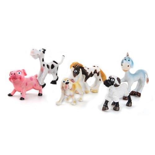 FACILLA® 6 New Hard Plastic Cartoon Farm Animals Figures Set Toy Kid Children