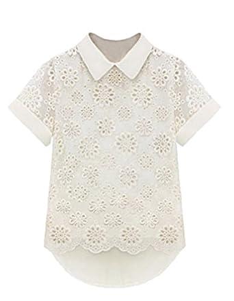 Demarkt Sexy Chemise/ Chemisier/ T-shirt Evidement Femmes en Voile avec Manches Courte/ Couleur Blanc/ Taille S/M/L/XL (L(42))