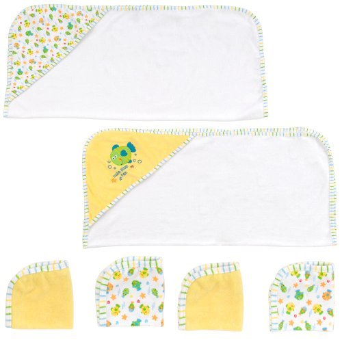 Babies R Us 2 Hooded Towels and 4 Washcloths Set - Fish - 1