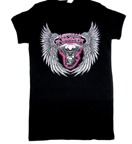 Ladies Biker T-shirt Asphalt Angel Motorcycle Tee-small