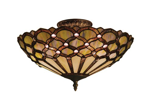 B001ABWXYE Landmark 938-TB Jewel 3-Light Semi-Flush Mount, 8-Inch, Tiffany Bronze