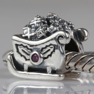 Everbling Christmas Santa Claus Sleigh With Pink Cz Authentic 925 Sterling Silver Charm Fits Pandora Chamilia Biagi Troll Beads Europen Style Bracelets