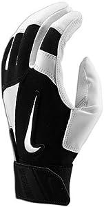 Nike GB0302 Diamond Elite Edge Batting Gloves - Adult - White Black by Nike