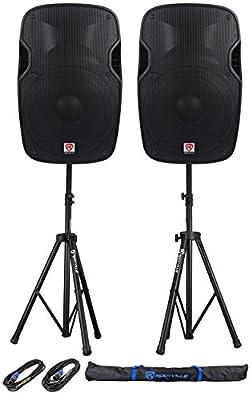 "Package: (2) Rockville SPG158 15"" Passive 8-Ohm Lightweight DJ/PA Speakers Totaling 2000 Watt Peak + Rockville RVSS2-TSNL4 Pair of Adjustable Pro Speaker Stands + (2) 1/4"" to SpeakOn NL-4 Cables + Carrying Case"