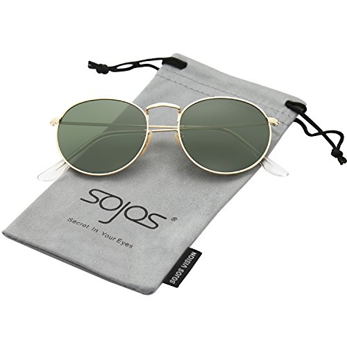 171b19460f SojoS Small Round Polarized Sunglasses Mirrored Lens Unisex Glasses SJ1014  3447 With Gold Frame G15 Lens