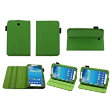 Bear Motion 100% Genuine Leather Case Cover With Stand For Samsung GALAXY Tab 3 (Galaxy Tab 3 7 Green)