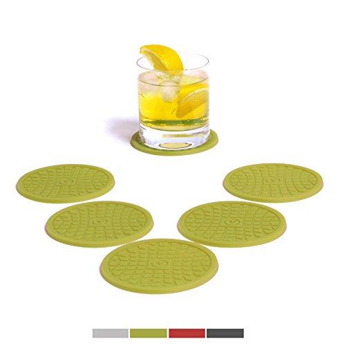 VENDOLO-Glas-Untersetzer-rund-6-er-Set-Farbe-whlbar-Getrnke-Untersetzer-aus-Silikon-fr-Becher-Glser-und-Flaschen-im-Wohnzimmer-in-der-Kche-am-Tisch-und-an-der-Bar-Grn