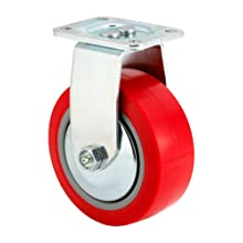 "E.R. Wagner Plate Caster, Rigid, Thread Guard, Polyurethane on Polyolefin Wheel, Roller Bearing, 650 lbs Capacity, 5"" Wheel Dia, 2"" Wheel Width, 6-1/2"" Mount Height, 3-3/4"" Plate Length, 2-3/4"" Plate Width"