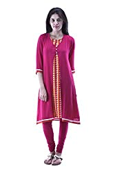 aarr V-Neck Georgette 3/4th Sleeves Casual Printed A-Line Kurta For Women