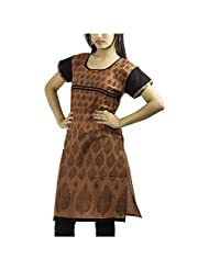 Fashion Freaks Red Cotton Printed Sqaure Neck Kurti