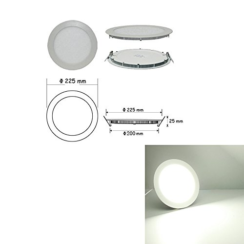 Ljy Led Recessed Ceiling Flat Panel Down Light Lamp (White, 18W Round)