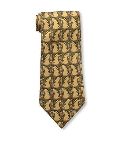 Hermès Men's Patterned Silk Tie, Brown