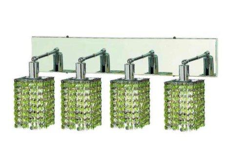 Elegant Lighting 1284W-O-S-Lp/Rc Mini 8-Inch High 4-Light Wall Sconce, Chrome Finish With Light Peridot (Light Green) Royal Cut Rc Crystal front-1017099