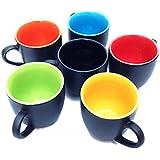 Vpra Mart Black Mat Multicolour Cups - Set Of 6 Pieces