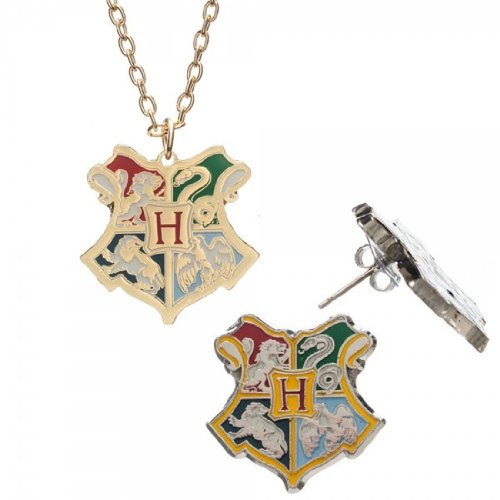 Harry Potter Crest Necklace Earrings Jewelry Set