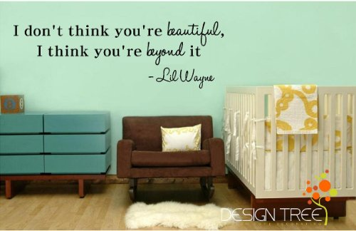 I Dont think you're beautiful, I think you're beyond it Lil Wayne wall art quote decal