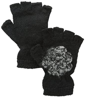 San Diego Hat Women's Knit Fingerless Glove with Crochet Flower, Black, One Size