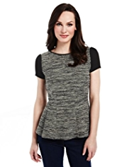 M&S Collection Tweed Peplum Top
