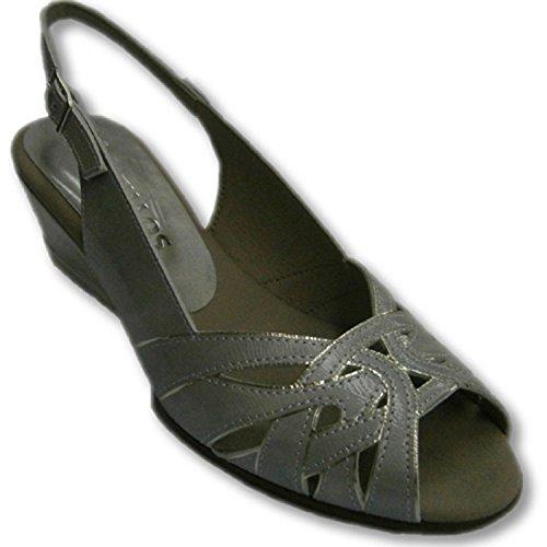 Sandali strisce bordo in argento croce simulato Pitillos metallico taille 38