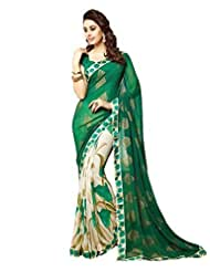 Green Color Georgette Printed Saree With Border And Blouse 6001