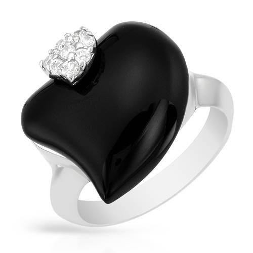 Heart Ring With Cubic zirconia and Onyx Beautifully Crafted in 925 Sterling silver. Total item weight 6.4g (Size 7.5)