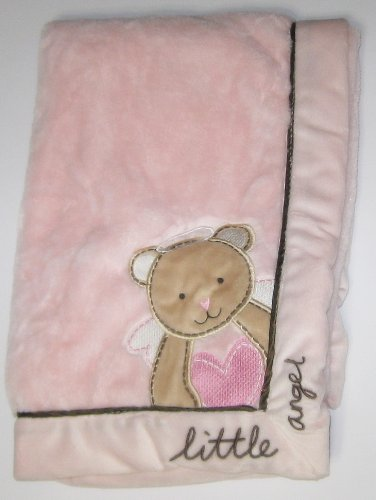 Pink and Brown Little Angel Bear Baby Blanket - Messages from the Heart