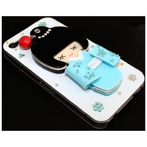 3D Unique Cute Lovely Japan Girl Bling Rhinestone Hard Case Cover iPhone 4 4S blue white