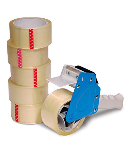 Packing Tape Dispenser Value Pack Incl. 6 Rolls of Tape and Professional Heavy-Duty Tape Gun (Butchers Tape compare prices)