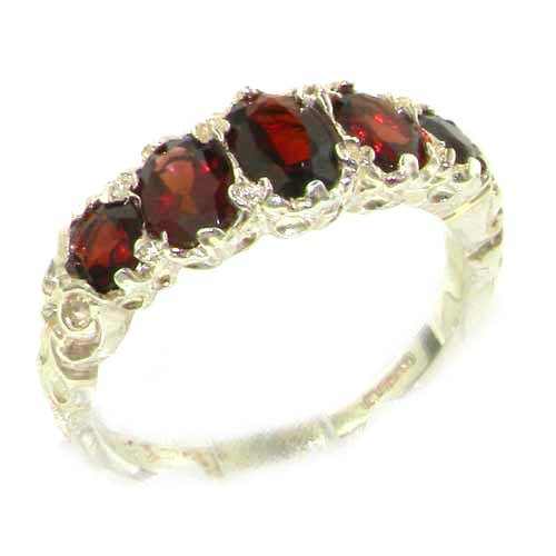 High Quality Solid Sterling Silver Natural Garnet English Victorian Ring - Size 12 - Finger Sizes 5 to 12 Available - Suitable as an Anniversary ring, Engagement ring, Eternity ring, or Promise ring