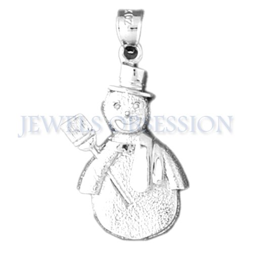 Sterling Silver 33mm Snowman Pendant
