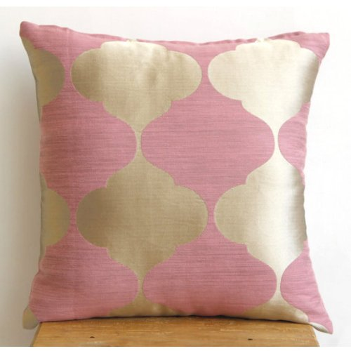 Pink Lotus - 16X16 Inches Square Decorative Throw Pink And Gold Silk Pillow Covers front-961413